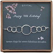EFYTAL 70 歲女士生日禮物,標準純銀七圓手鐲,7 周年珠寶,70 歲