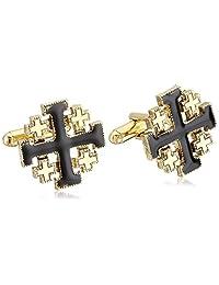 Symbols of Faith 中性 14k 金浸渍黑色珐琅耶路撒冷十字袖扣