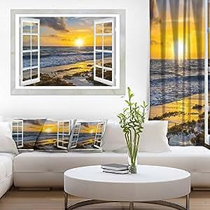 设计艺术开窗亮黄色日落现代海景帆布艺术品,20x12 30'' H x 40'' W x 1'' D 1P PT11439-40-30