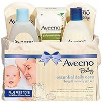 Aveeno 艾惟諾 嬰兒基礎日用護理 寶寶&媽媽禮品套裝,具有多種護膚和沐浴產品,可滋養嬰兒和呵護媽媽,為新媽媽和準媽媽提供嬰兒禮物,6件