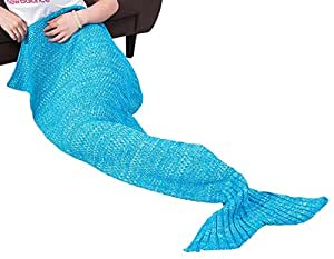 LINSGROUP 手工羊毛彩色柔软美人鱼尾毛毯成人款,蓝色