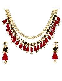 Saissa 金色 Jadau Kundan 颈链宝莱坞印度项链耳环首饰套装