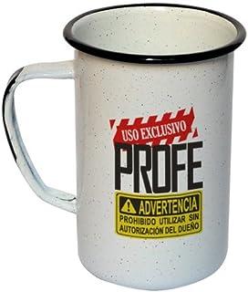 """西班牙语加长搪瓷表情符号马克杯 """"Uso Exclusive sivo Profe"""" 21.8 液体盎司 (620ml)"""