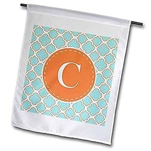 3dRose fl_210604_1 字母 C 橙色和蓝色四叶草图案花园旗,30.48 x 45.72 cm