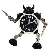 Gigibon 闹钟机器人,儿童礼物 Cute&Fun,电池驱动,可移动/扭转支架和臂,适合多种姿势,送给孩子的礼物 黑白色 小号 COMINHKG115330