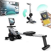Bluefin Fitness Blade 家用健身房可折叠划船机 | 磁阻力球机 | 8 个张张力级别 | 平滑皮带驱动器 | LCD 数字健身控制台 | 智能手机应用 | 黑色和灰色银色