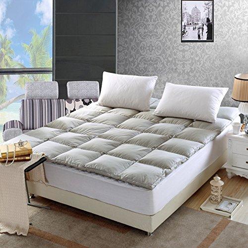 QIBO 祺帛家纺 精品全棉羽绒床垫床褥子 单人双人双层加厚全立体5cm透气榻榻米护垫床垫子 (180*200cm 12斤, 灰色)