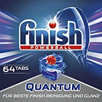 Finish 亮碟 Quantum 洗碗机洗涤块 不上玻璃,保持玻璃光泽 64 Tabs 64