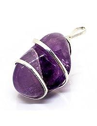 原生紫色紫水晶吊坠项链 -聚焦松散冷静自然压力辅助舒缓沉的情绪 - 镀银上的正宗石链条真正的宝石樱桃拉*吊坠
