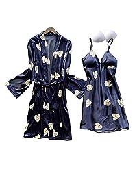 SAPJON 女式长袍套装缎面丝绸睡衣套装 2 件套性感内衣吊带睡衣 带胸垫