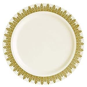 40 件套一次性餐盘组合套装 Ornament Gold