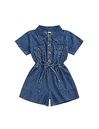 Gifunes 3 件套女童装荷叶边袖连体衣上衣 + 花卉短裤 + 花卉头带婴儿夏装套装  Denim Romper 4T / 5T