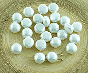 30 颗 CANDY 不透明光泽白色圆顶 2 孔编织捷克玻璃珠 8 毫米