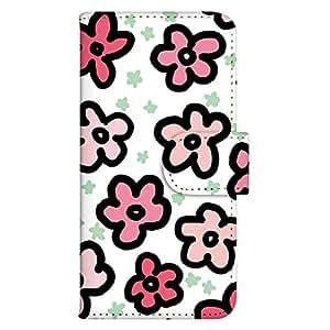 智能手机壳 手册式 对应全部机型 印刷手册 cw-008top 套 手册 花朵图案 UV印刷 壳WN-PR124758-M Disney Mobile on docomo P-05D 图案 A
