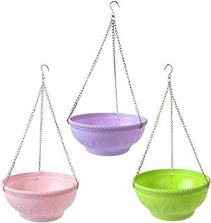 Saim 悬挂式花盆 – 9.1 英寸(约 23.1 厘米)室内室外阳台悬挂篮露台树脂套装 3 件套适用于草莓、番茄、花卉和草本户外种植器 多种颜色