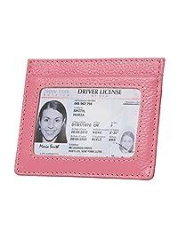 女式 RFID 屏蔽纤细卡包皮革极简前口袋钱包