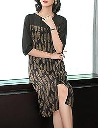 DVG 女装新款大码裙子女修身显瘦宽松A字长裙圆领中袖长款过膝连衣裙女休闲连裙 DW8499