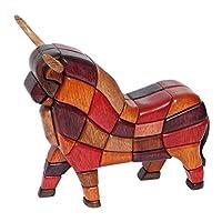 "NOVICA 红色和棕色能量造木雕塑,高 27.94cm ""Pucara""幸运公牛"