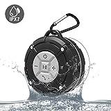 防水蓝牙扬声器 IPX7 户外便携式淋浴无线扬声器带高清声音,增强低音,吸盘,内置麦克风,蓝牙 4.2 免提扬声器MEBTSG01 灰色