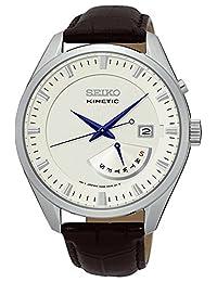 SEIKO SRN071P1,男士运动型,银色表盘,不锈钢表壳,皮革表带 100m WR,SRN071