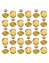 60 件 10 毫米耳环 耳钉 镀金 圆形扁平 边框 凸面镶嵌 珠宝制作 蝴蝶耳环 背面
