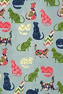 托兰家庭花园猫图案 71.12 x 101.6 cm 装饰可爱多彩 V 形花纹小猫设计房旗