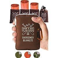 世界上*强韧的急救毯 | 4 件超大保暖聚酯薄膜隔热毯适用于远足、马拉松跑步、急救箱、预备箱、出虫和户外求生装备 Survival Orange X大码 Emergency Blanket 4 Pack Orange