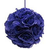 Firefly Imports Flower Kissing Balls Pomander Pom Pom Wedding Centerpiece, Royal Blue