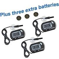 Aquaneat 水族箱数字温度计鱼缸水族箱黑色免费电池 3 PCS