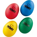 Nino Percussion NINOSET540 Plastic Egg Shaker Assortment, 4 Pieces: Blue, Green, Red & Yellow