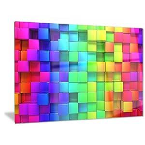 "Designart 彩色盒子彩虹 - 抽象金属墙体艺术 - MT6019-48x28-4 片 绿色 28x12"" MT6019-28-12"