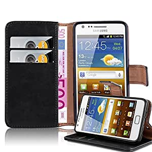 Cadorabo 手机壳适用于三星 Galaxy S2/S2 Plus 书籍保护套(奢华设计) - 带磁扣、支架功能和卡槽 - 钱包式手机壳 Etui 盖袋 PU 皮革翻盖DE-106851 石墨黑