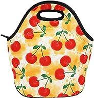 氯丁橡膠午餐袋保溫午餐盒手提包適合女士男士成人兒童青少年男孩青少年女孩 Watercolor Cherry