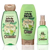 Garnier Hair Care Whole Blends Refreshing Green Apple and Green Tea Hair Care with Shampoo, Conditioner, and Detangler, For Normal Hair, Paraben Free 1 Kit