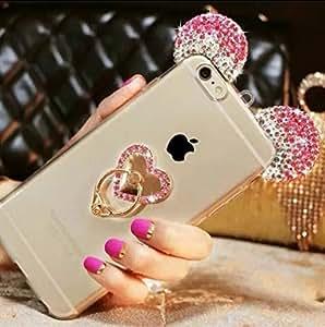 "Jesiya iPhone 6/6s/6 plus/6s plus/6s plus 手机壳 毛皮 TPU,可爱 3D 手工钻石耳朵手工制作金属扣吊坠毛皮毛绒球透明手机壳适用于 iPhone 6/6s 4.7""/6 plus/6s plus 5.5 英寸6558009 iPhone 6 / 6s 4.7 Inch Heart Ear Pink"