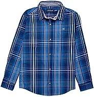 Calvin Klein 男童长袖格子衬衫