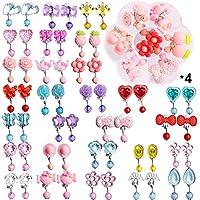 Hicdaw 28 双女孩夹式耳环女孩玩耍耳环公主珠宝拼接设计,带 4 个透明盒子,适合儿童、学步儿童派对礼物