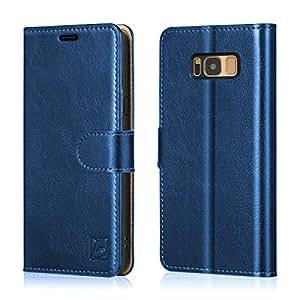 belemay SAMSUNG GALAXY S8手机壳正品牛皮保护套钱包式手机套翻转书壳带磁封的插卡槽支架功能信用卡插槽钱袋适用于 SAMSUNG GALAXY S8–咖啡棕色 蓝色 Samsung Galaxy S8 Plus