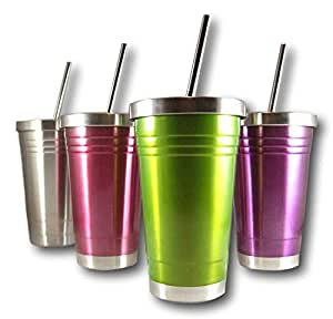 彩色 453.59 毫升不锈钢双壁保温杯带盖和吸管 由紫木和藤制造 绿色 COMINHKG097241