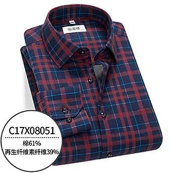 恒源祥中老年衬衫男长袖秋季格子爸爸装中年父爸爸衬衣冬季厚款C17X08051 50