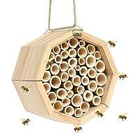winemana 手工制作天然竹制蜂巢,梅森蜜蜂屋管吸引宁静蜜蜂授粉者提升花园的工作效率