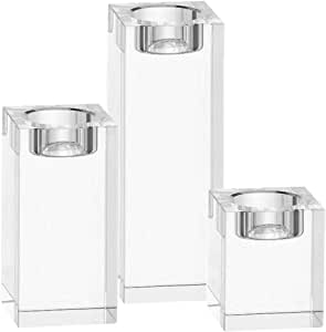 水晶烛台中心摆件烛台方形矩形烛台套装适用于餐桌、家庭、餐厅、婚礼、生日装饰 白色 DR-1831902