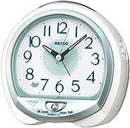 セイコークロック 置き時計 白パール 13×14×9.6cm 目覚まし時計 卓上時計 テーブルクロック アナログ QM748W