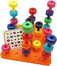 Skoolzy 幼童学习玩具小钉板 - Montessori 玩具适合幼儿 1、2、3、4 岁男孩和女孩*佳学步儿童玩具,职业*玩具颜色分类幼儿游戏,9 种颜色