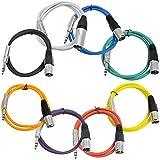 Seismic Audio - SATRXL-M2-Multi - 8 包 2 英尺 多色 XLR 公头 到 1/4 英寸 TRS 接插线 2 英尺 专业音频平衡 XLR-M 到 1/4 英寸 接插线 DJ