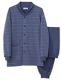 [郡是] 睡衣 领口温暖 长袖长裤 内里绒毛条纹/素色 SG4178 男士