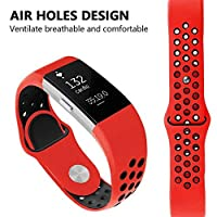 TVT Sport Fitbit Charge 2 表带,可调节运动表带适用于 Fitbit Charge 2 智能手表健身腕带,*佳礼物圣诞节,*佳选择 Large .5.7-8.8 Inches . 145-205 mm . 红色