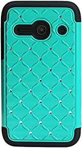Reiko Alcatel One Touch Evolve 2 Hybrid Heavy Duty Jewelry Diamond Case In Black Green