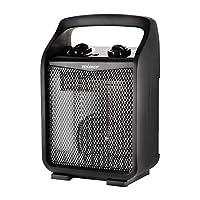 Tenergy 1500W / 750W 便携式空间取暖器,带可调恒温器,循环空气电风扇加热器,带自动关闭开关,翻转和过热保护
