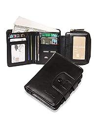 女式皮革钱包,RFID 屏蔽皮革三折钱包拉链口袋钱包,带证件插袋